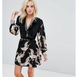 Glamorous Size 4P Long Sleeves Ruffles Wrap Dress